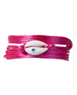 Pulseira fio de seda rosa e búzios Debi