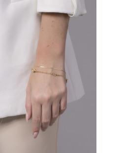 Pulseira dourada com pedra cristal Judi