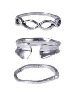 Kit de anéis prateado Fer