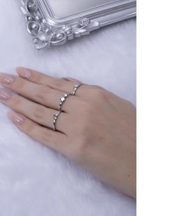 Kit de anéis prateado Gika