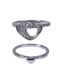 Kit de anéis prateado com strass cristal Ray