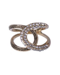 Anel dourado com strass cristal Vana