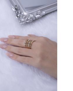 Anel dourado com strass cristal Sarah