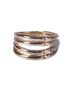 Anel dourado com strass cristal Karol