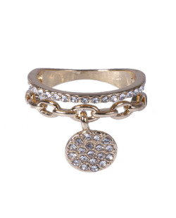 Anel dourado com strass cristal Kako