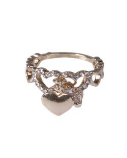 Anel dourado com strass e pedra cristal Xai