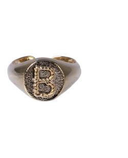 Anel dourado letra B
