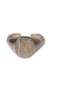 Anel dourado letra N