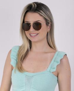 Óculos marrom com detalhes dourado Jaque