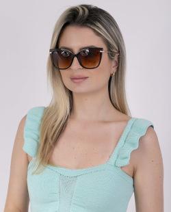 Óculos marrom com detalhes dourado Mari