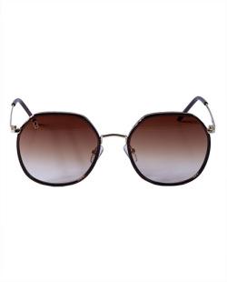 Óculos marrom com detalhe dourado Cat