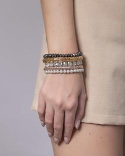 Kit pulseiras grafite, prata, dourado e rose Martins
