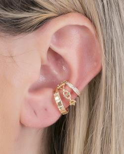 Piercing fake dourado com strass cristal Gabriely