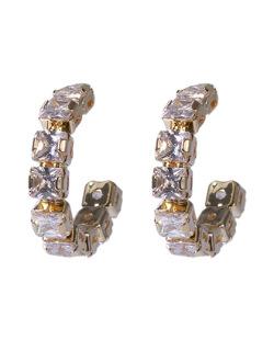 Argola dourada com pedra cristal Angela