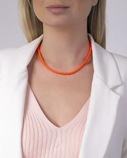 Gargantilha choker laranja neon Rafaella