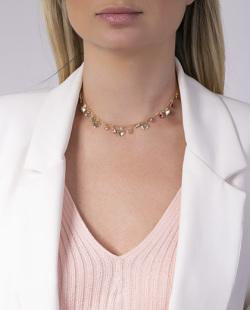Gargantilha choker dourada com pedras coloridas Chanel