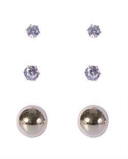 Kit 3 pares de brincos dourado com pedra cristal Lola