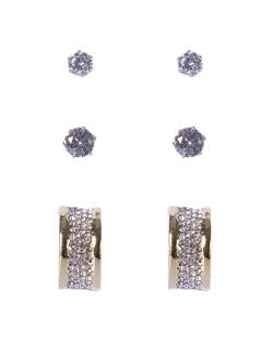 Kit 3 pares de brincos dourado com pedra e strass cristal Michele