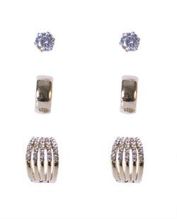 Kit 3 pares de brincos dourado com pedra cristal Leticia