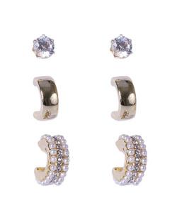 Kit 3 pares de brincos dourado com pedra cristal Amora