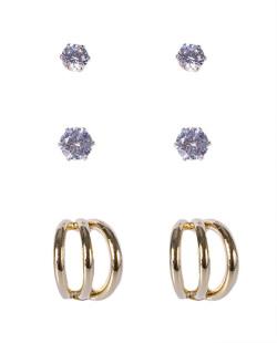 Kit 3 pares de brincos dourado com pedra cristal Maria