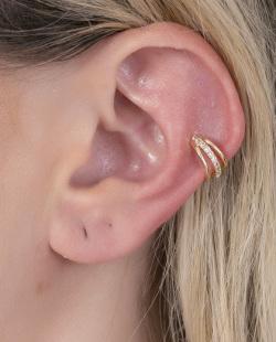 Piercing fake dourado com strass cristal Camila