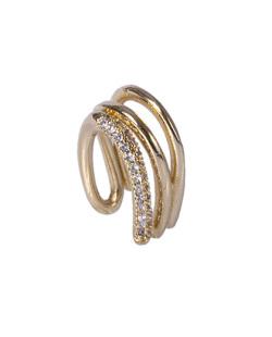 Piercing fake dourado com strass cristal Dey
