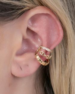 Piercing fake dourado com strass cristal Samy