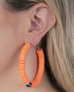 Argola prateada e laranja Mariah