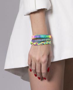 Kit 3 pulseiras coloridas neon Lupin