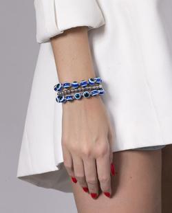 Kit 3 pulseiras prateada e azul Laken