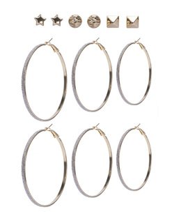 Kit 6 pares de brincos dourado Gaya