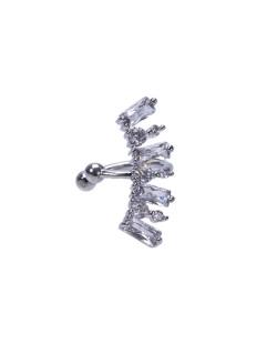 Piercing fake prateado com pedra cristal Zayn