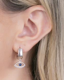 Argola prateada com pedra azul Lovato