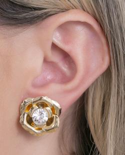 Brinco pequeno dourado com pedra cristal Lellys