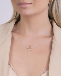 Colar de nylon com pedra cristal Star