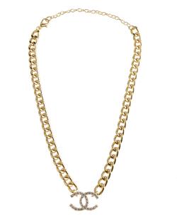 Colar folheado dourado com strass cristal Lorena