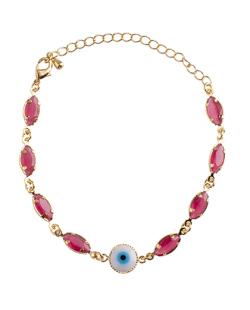 Pulseira folheada dourada com pedra rosa Myrk