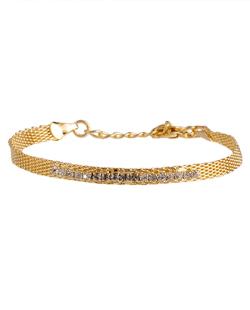Pulseira folheada dourada com strass cristal Bella