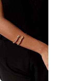 Bracelete folheado dourado com strass cristal Snake