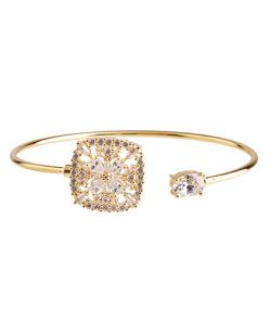 Bracelete folheado dourado com pedra e strass cristal Takre