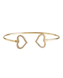 Bracelete folheado dourado com strass cristal Lovve
