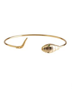 Bracelete folheado dourado com strass verde Nakes