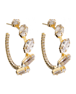 Argola folheada dourada com pedra e strass cristal Vicca