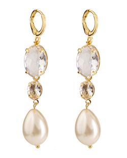 Argola folheada dourada com pérola e pedra cristal Lolita