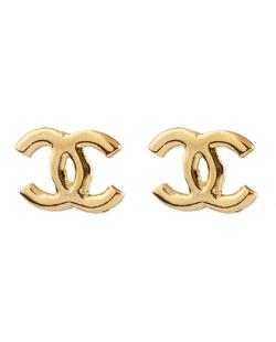 Brinco folheado dourado Chanel