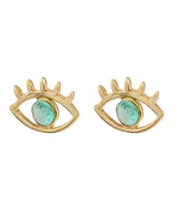 Brinco folheado dourado com pedra verde Eyes
