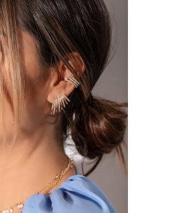 Piercing folheado dourado com strass cristal Sakes