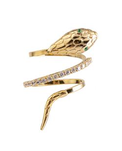 Anel folheado dourado com strass cristal Snake