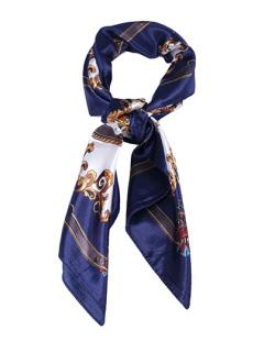 Lenço de cetim estampado azul Siker